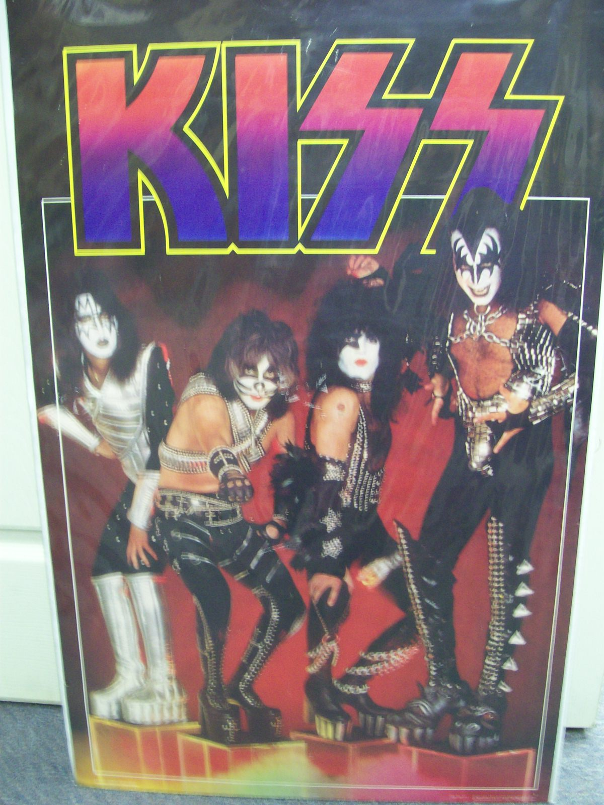 KISS FULL LENGTH POSTER 1977 AUCOIN WITH FACES