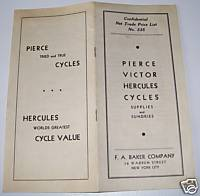 1930s Pierce Victor Hercules Bicycle Parts Price List