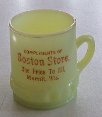 Boston Store Merrill WI Custard Glass Mug Advertising Premium