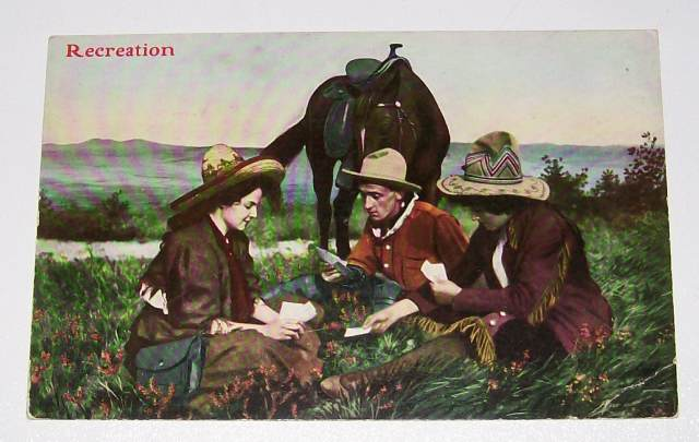 Card Playing Cowgirls & Cowboy With Horse Postcard