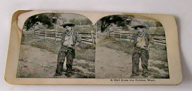 Antique Stereoview Card - Cowgirl With Chaps Drawing Gun