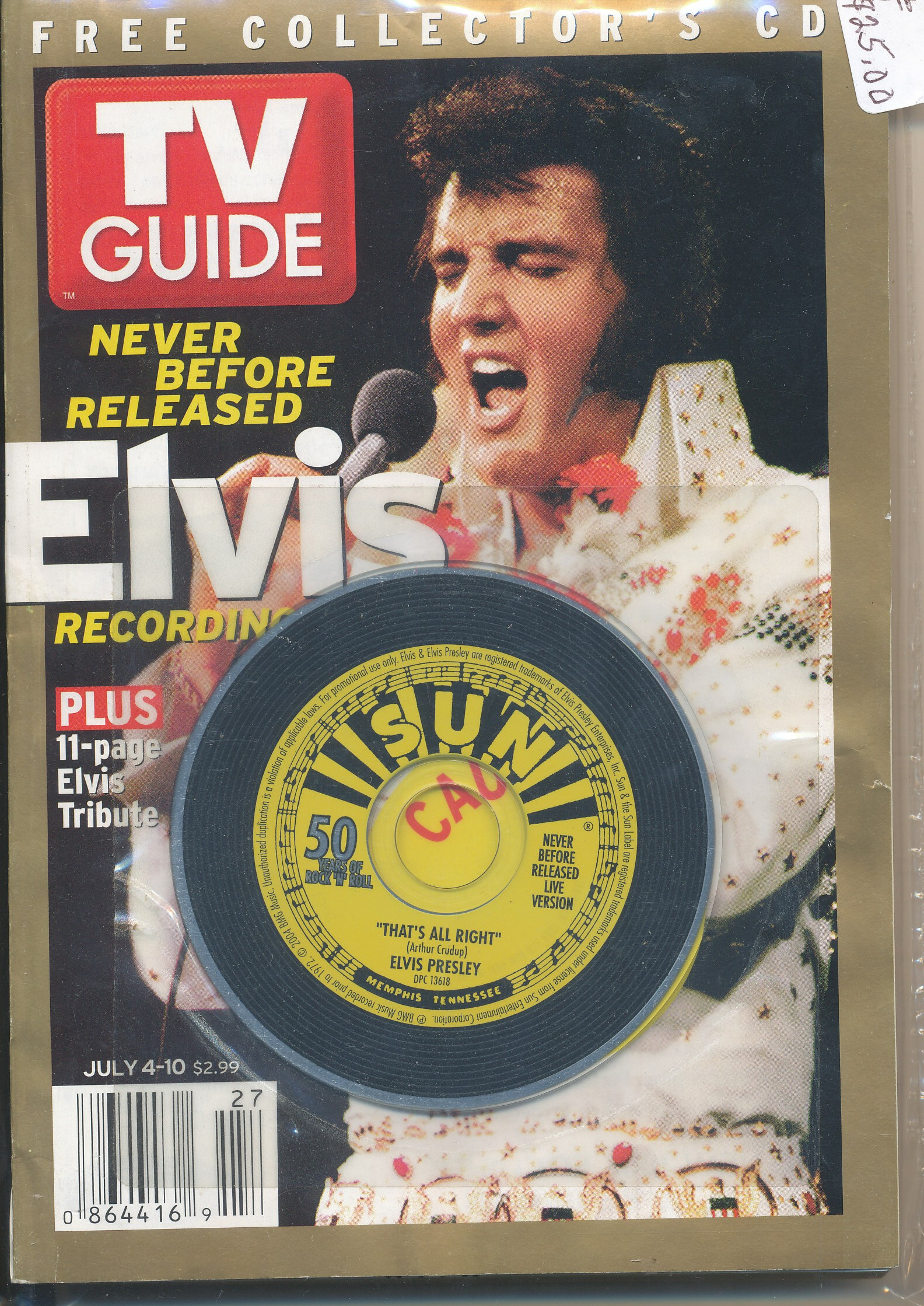 TV Guide featuring ELVIS free collector's CD, 11 page tribute