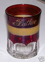 Father Ruby Flash Glass Tumbler With Amber Frost Band