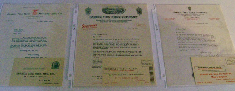 1930s Fabric Fire Hose Companies Advertising Letterhead Letters
