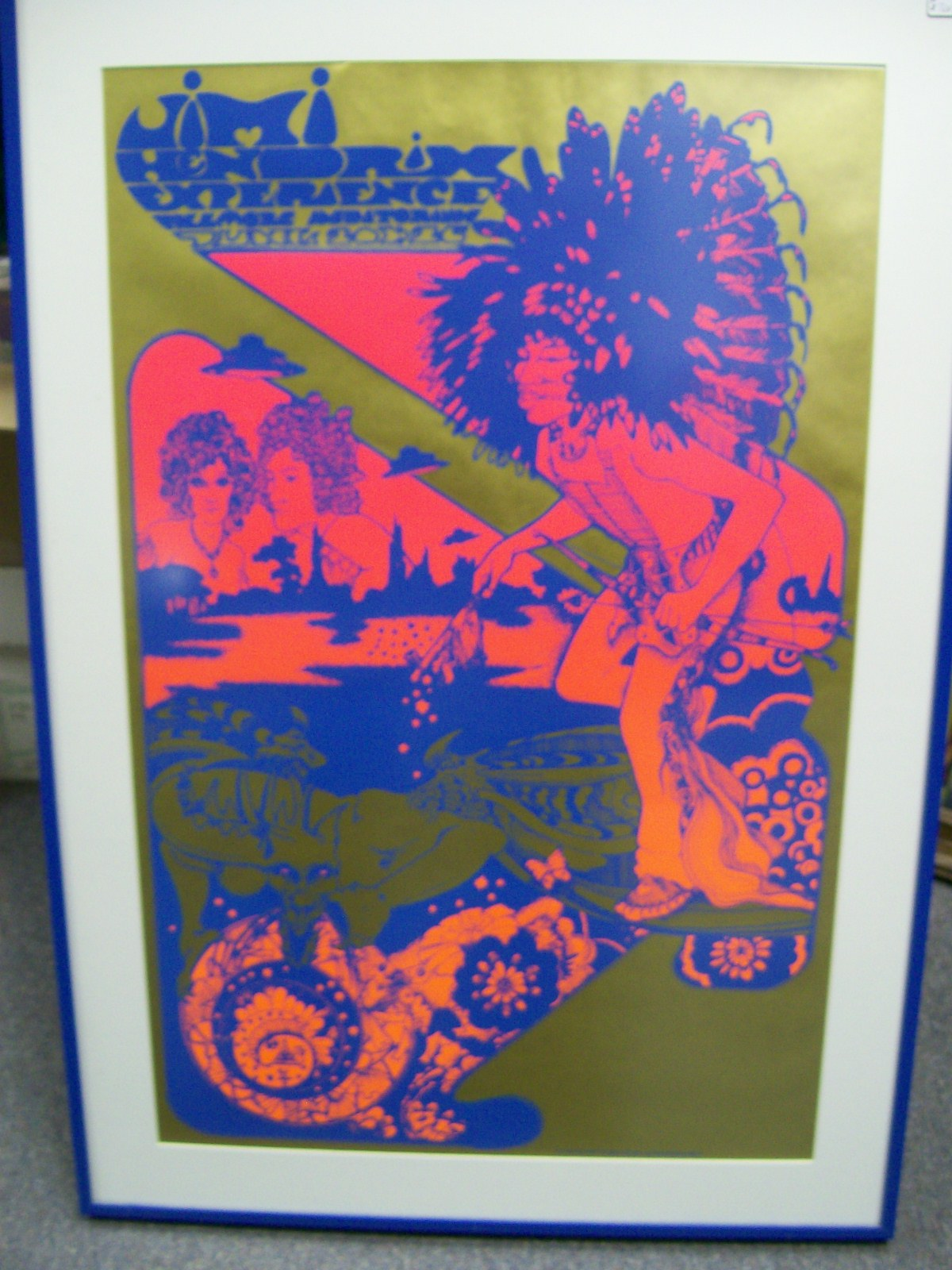 "JIMI HENDRIX EXPERIENCE POSTER RED,BLUE&GOLD 24""X34"""