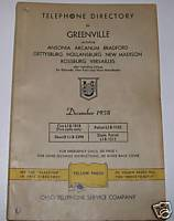 1958 Greenville OH Telephone Directory Genealogy Aid