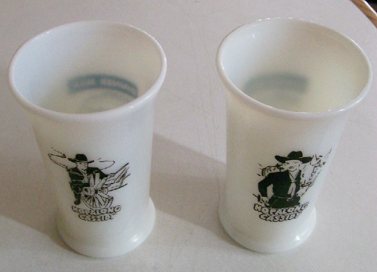 Vintage Hopalong Cassidy Milk Glass Tumbler Pair
