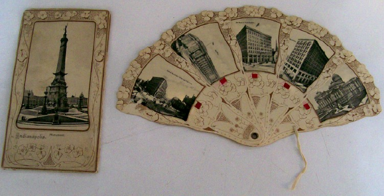 1900 Indianapolis IN Postcard With Multi-View Fan Insert