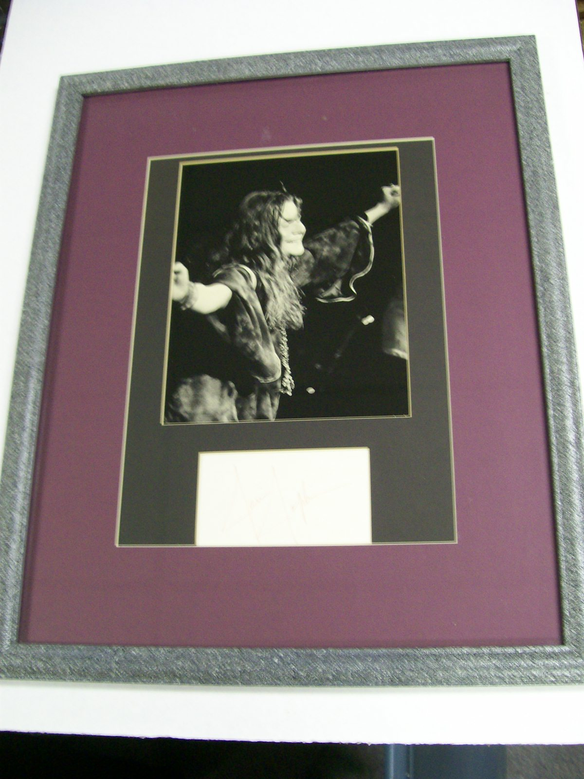 Janis Joplin Large Framed Photo with Autograph/LOA