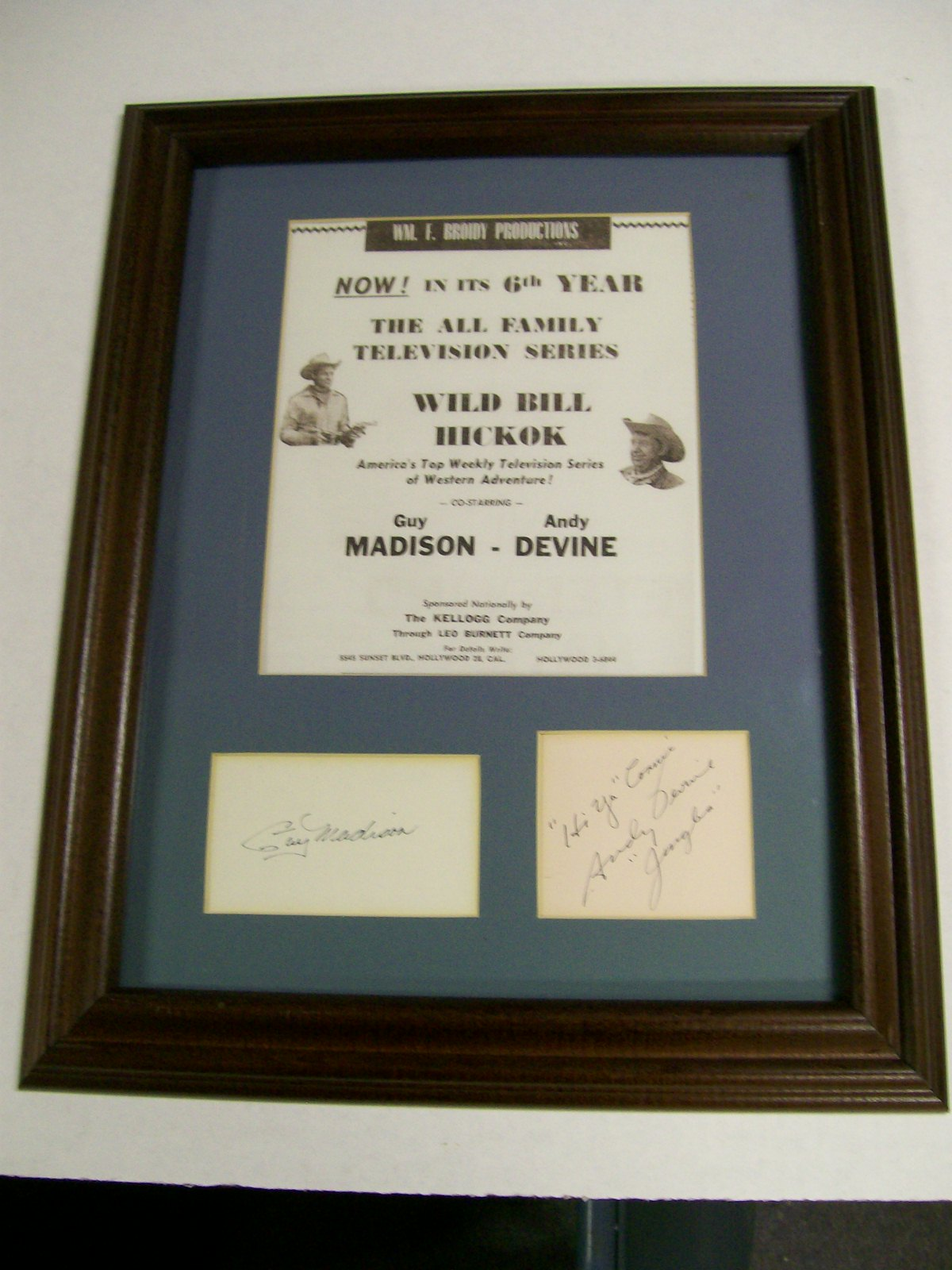 Guy Madison&Andy Devine/Jingles Autographed Poster