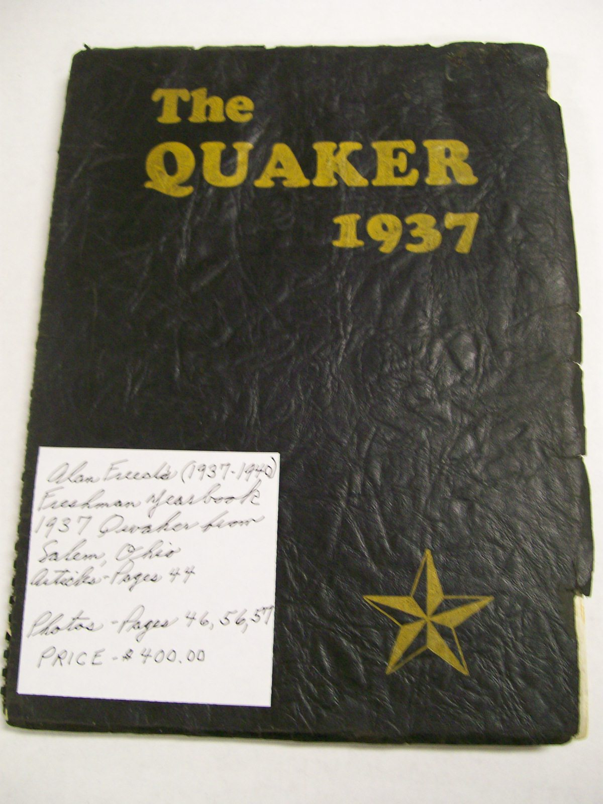 Alan Freed 1937 Freshman Yearbook/Quaker/Salem, Ohio