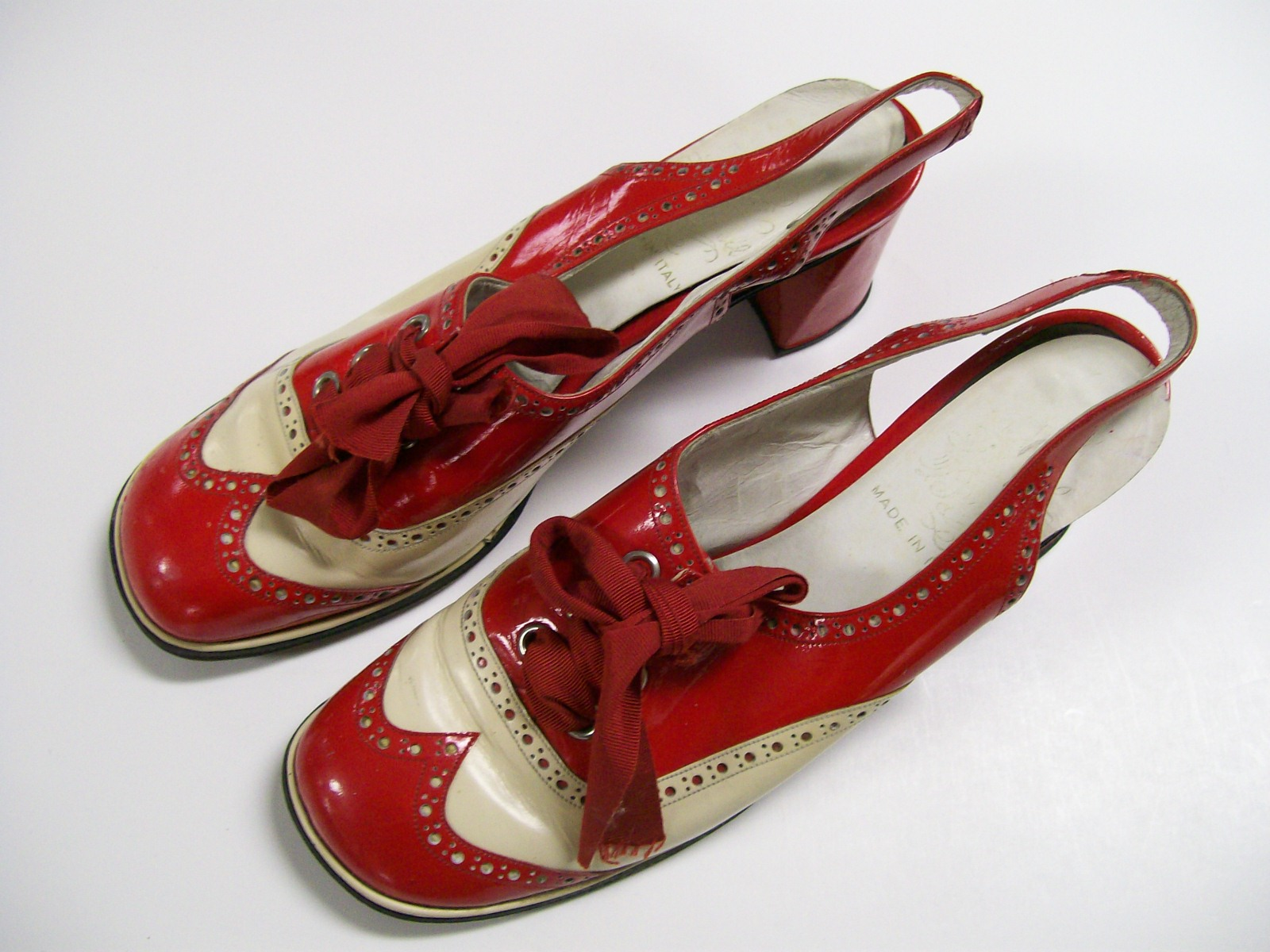 Mamie Van Doren Red & White Designer Shoes Made In Italy