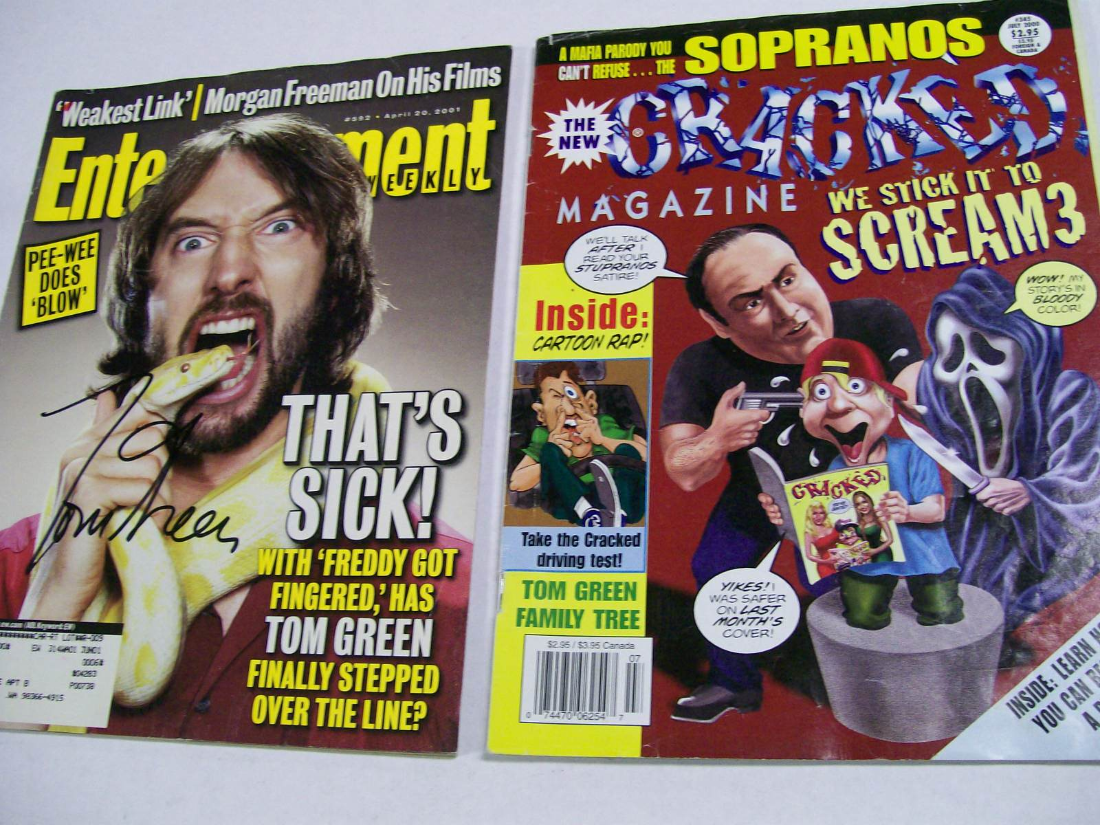 Tom Green 2 autographed mags. Entertainment/Cracked