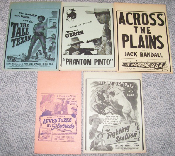 Mixed Lot Of Western Cowboy Movies Advertising Broadsides