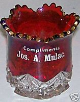 Mulac Advertising Ruby Flash Glass Toothpick Holder