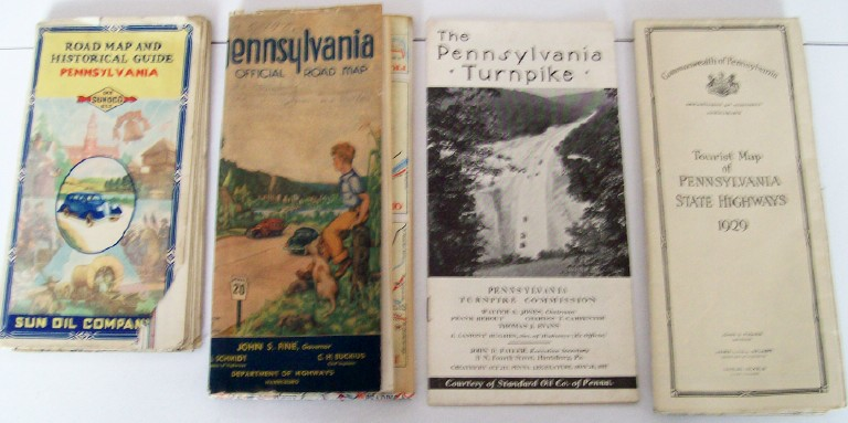 Lot Of PA State Highway & Turnpike Maps - 1929-1953