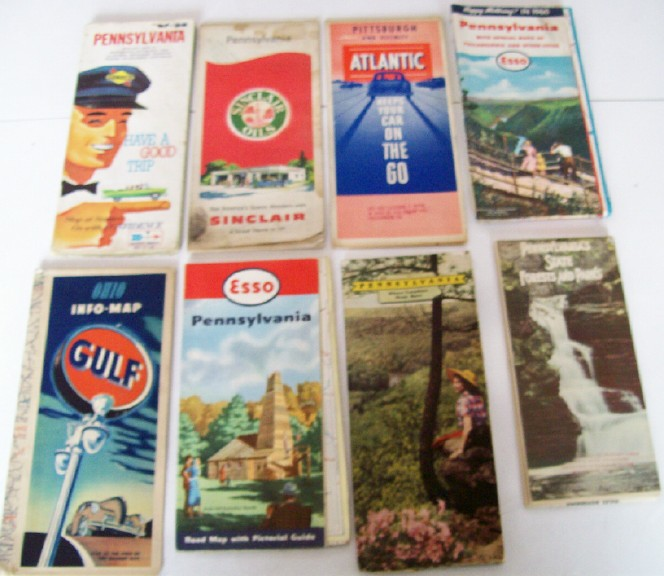 Lot Of 8 Oil Company & Other PA & OH Road Maps