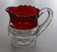 Vintage Ruby Flash Glass Creamer Or Small Pitcher