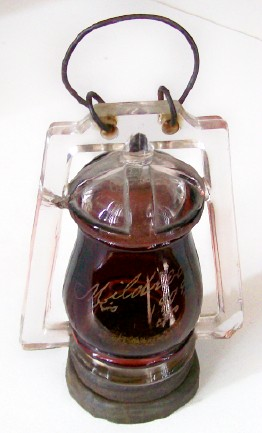Vintage 1909 Ruby Flash Glass Lantern Candy Container