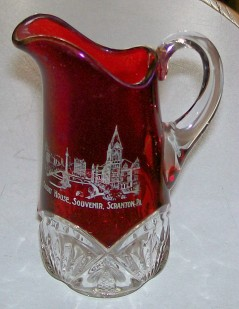 Scranton PA Court House Ruby Flash Glass Creamer By Heisey