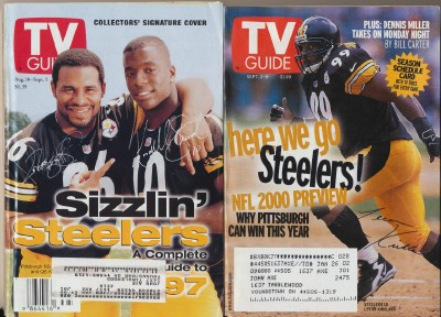 2 Different Vintage TV Guides With Pittsburgh Steelers Covers