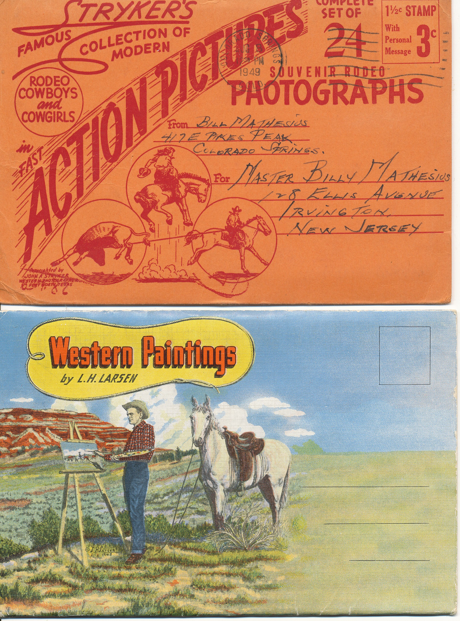2 Great Western Postcard Folders. Stryker & Larson