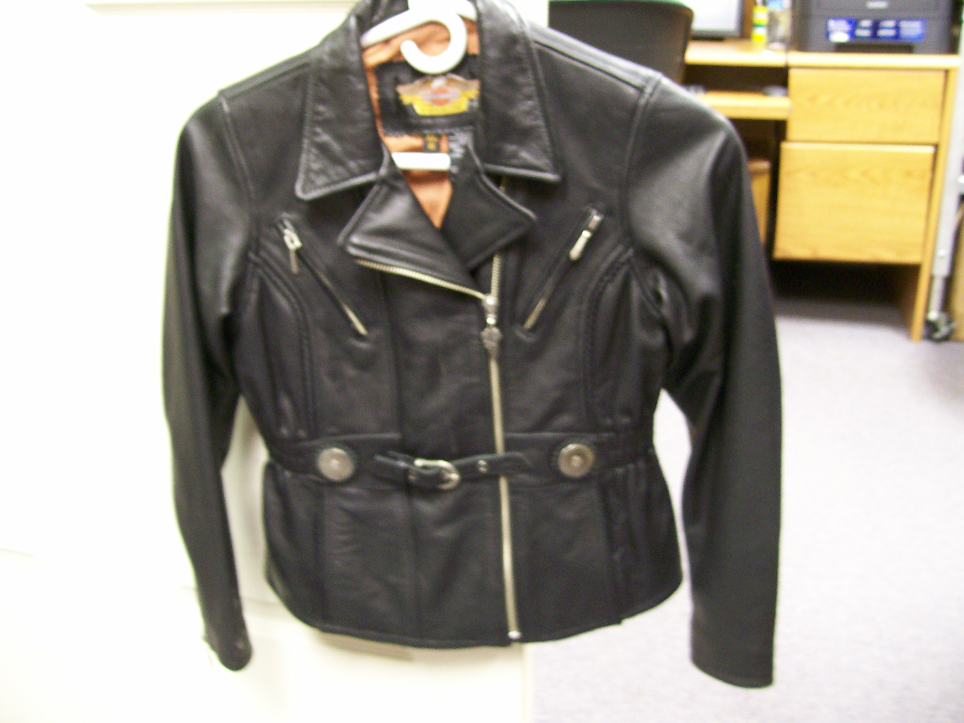 Harley Davidson Motorcycle Black Leather Biker Jacket Size Small