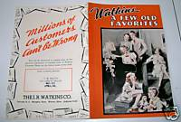 1939 Watkins Liniment Advertising Song Book Utica PA