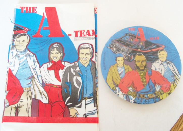 Vintage A-Team Tablecloth & Plates - New In Original Packages