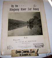1907 Allegheny River Pittsburg PA Sheet Music + Ribbon