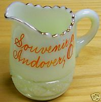 Andover Ohio Souvenir Custard Glass Pitcher - Mint