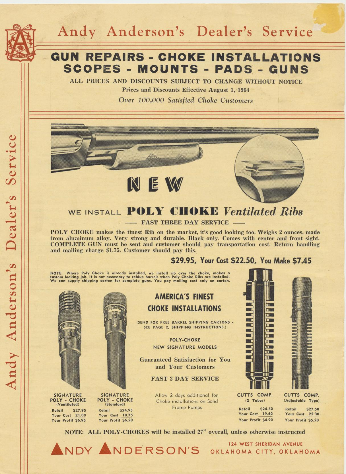 1964 Andy Anderson Gun & Accessories Dealer Trade Catalog