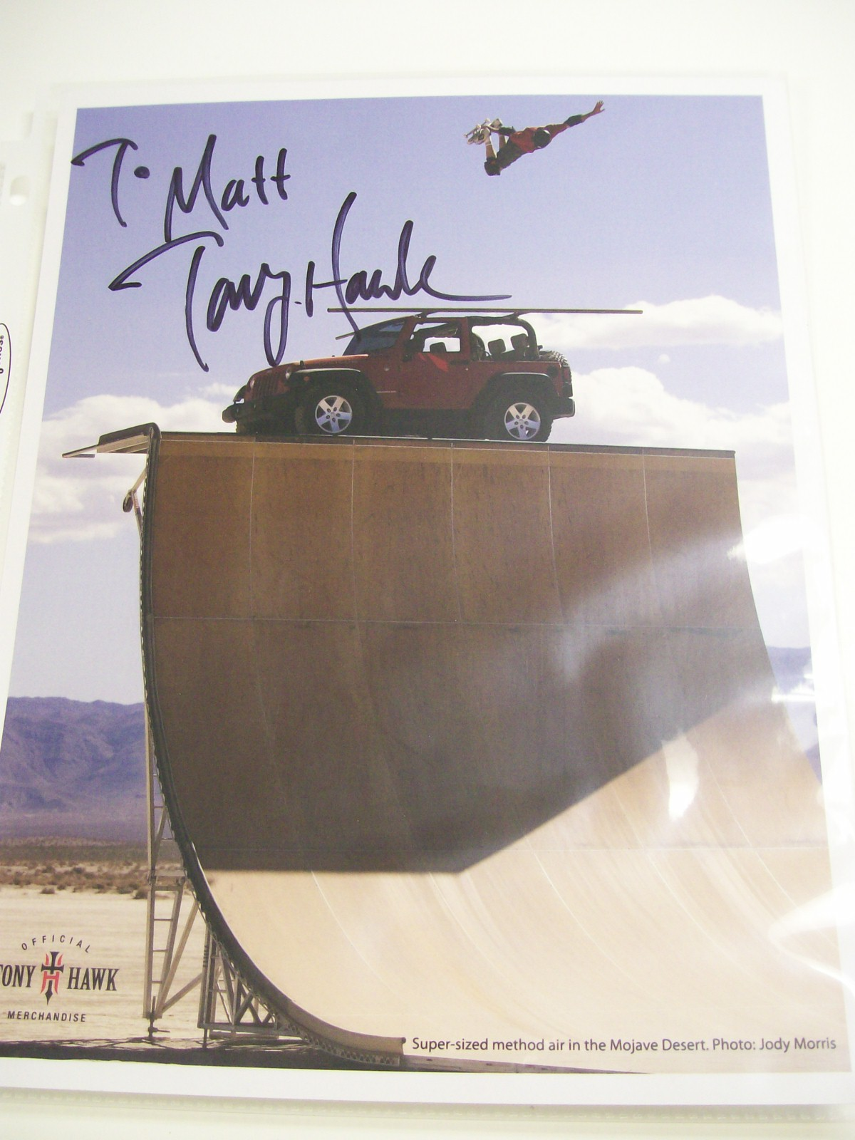 Tony Hawk Autographed Official Merchandise Photo of him flying