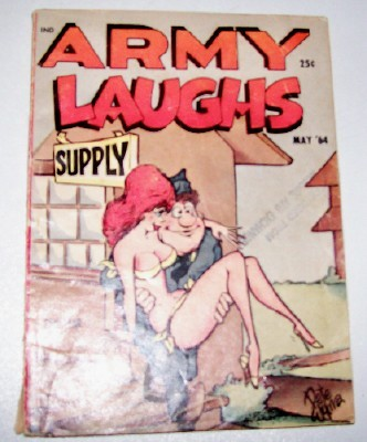 1964 Army Laughs Artist Signed Risque Military Cartoon Book