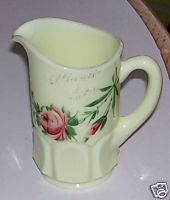 Atlantic City Souvenir Custard Glass Pitcher - Handpainted Roses