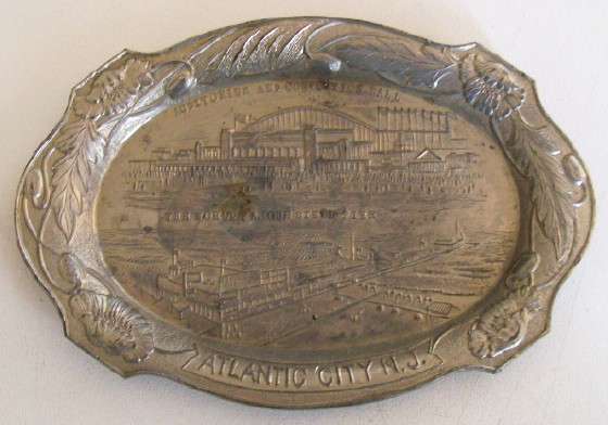 Atlantic City Souvenir Metal Tray - Made In Occupied Japan