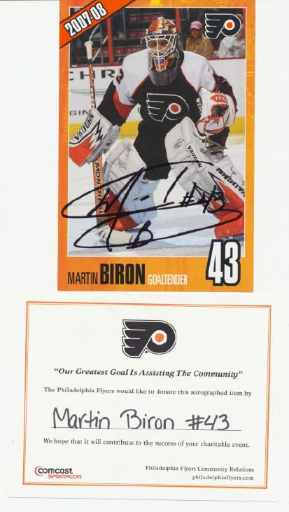 Martin Biron Autographed Photo - Philadelphia Flyers NHL Hockey