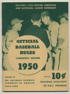 1950 Official Baseball Rules By National Baseball Congress