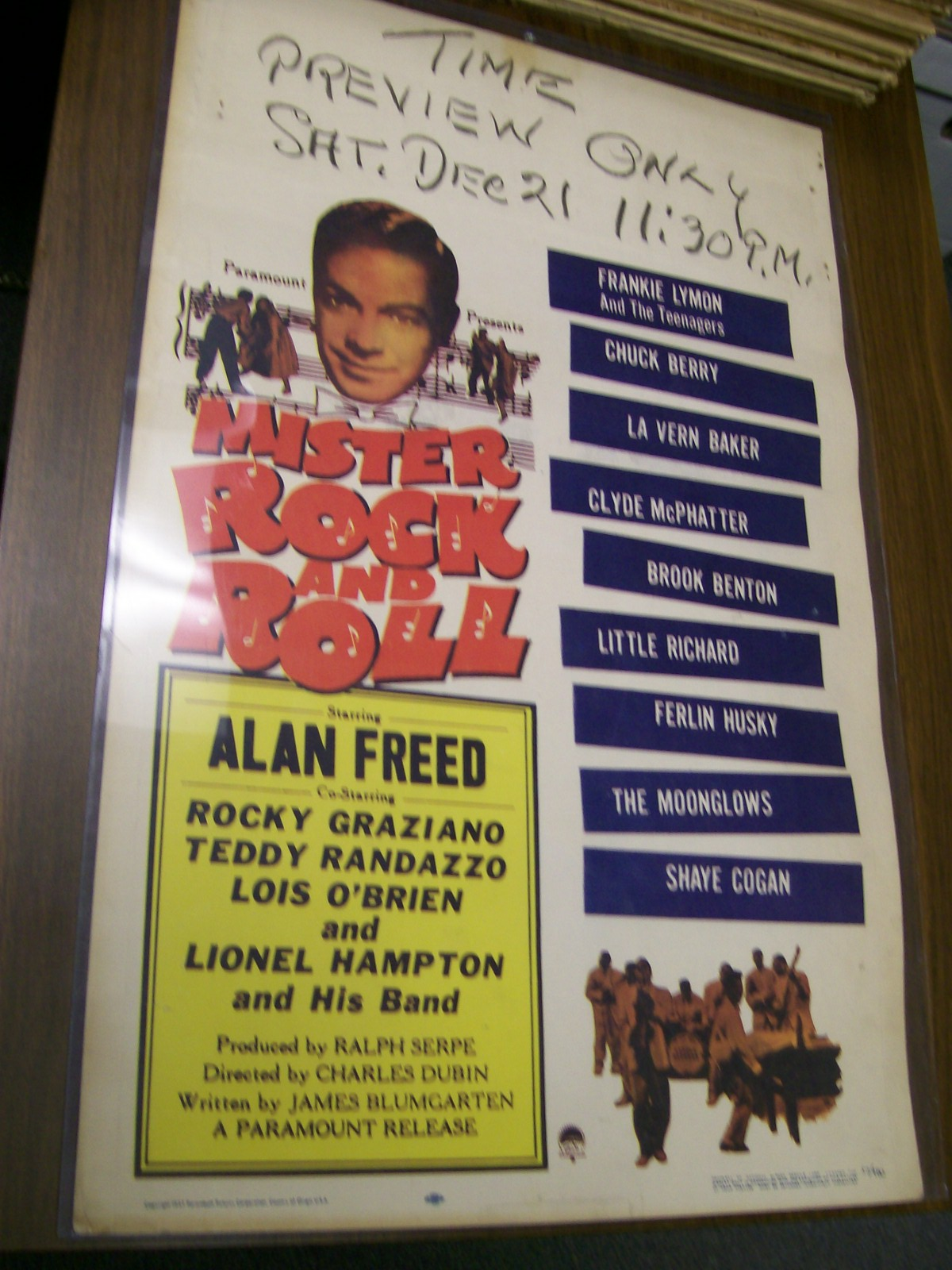 ALAN FREED SHOW POSTER MISTER ROCK & ROLL 1957