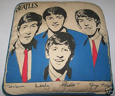 Vintage 1960s Beatles Throw Pillow With Signed Pictures