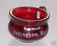 Souvenir Of Bellingham WA Ruby Flash Glass Small Kettle