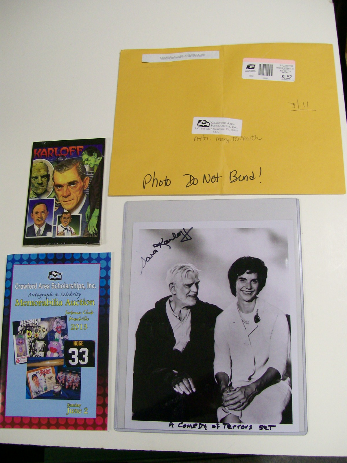 Sara & Boris Karloff Signed Photo of Her & Father/ Postcards