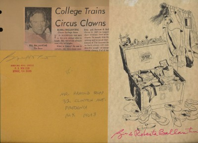 Bill Ballantine Circus Clown Writer Artist Orig Signed Xmas Card