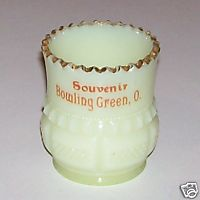 Bowling Green Ohio Souvenir Custard Glass Fancy Toothpick Holder