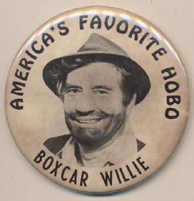 Vintage Boxcar Willie America's Favoriate Hobo Pinback Pin