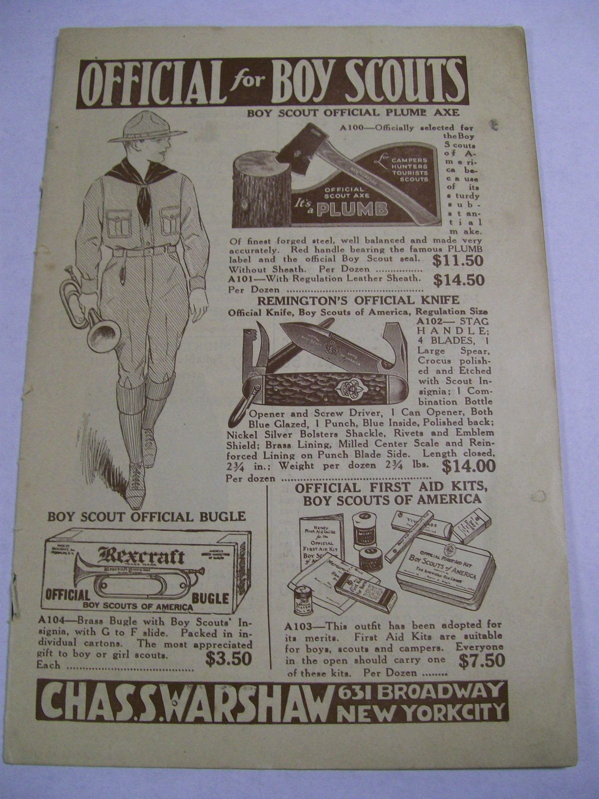 Official Boy Scout Catalog by Chas.S. Warshaw NY. 1930's