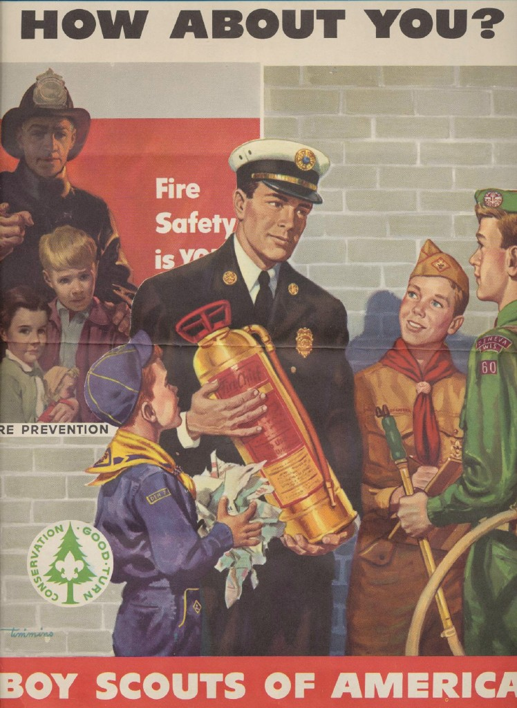 Vintage Boy Scouts Fire Prevention Poster - Signed Timmins