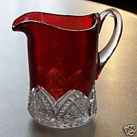 Brockwayville PA Souvenir Ruby Flash Glass Pitcher