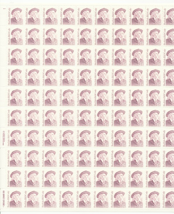 1988 Complete Pane Of 100 Buffalo Bill Stamps Scott #2178 MNH