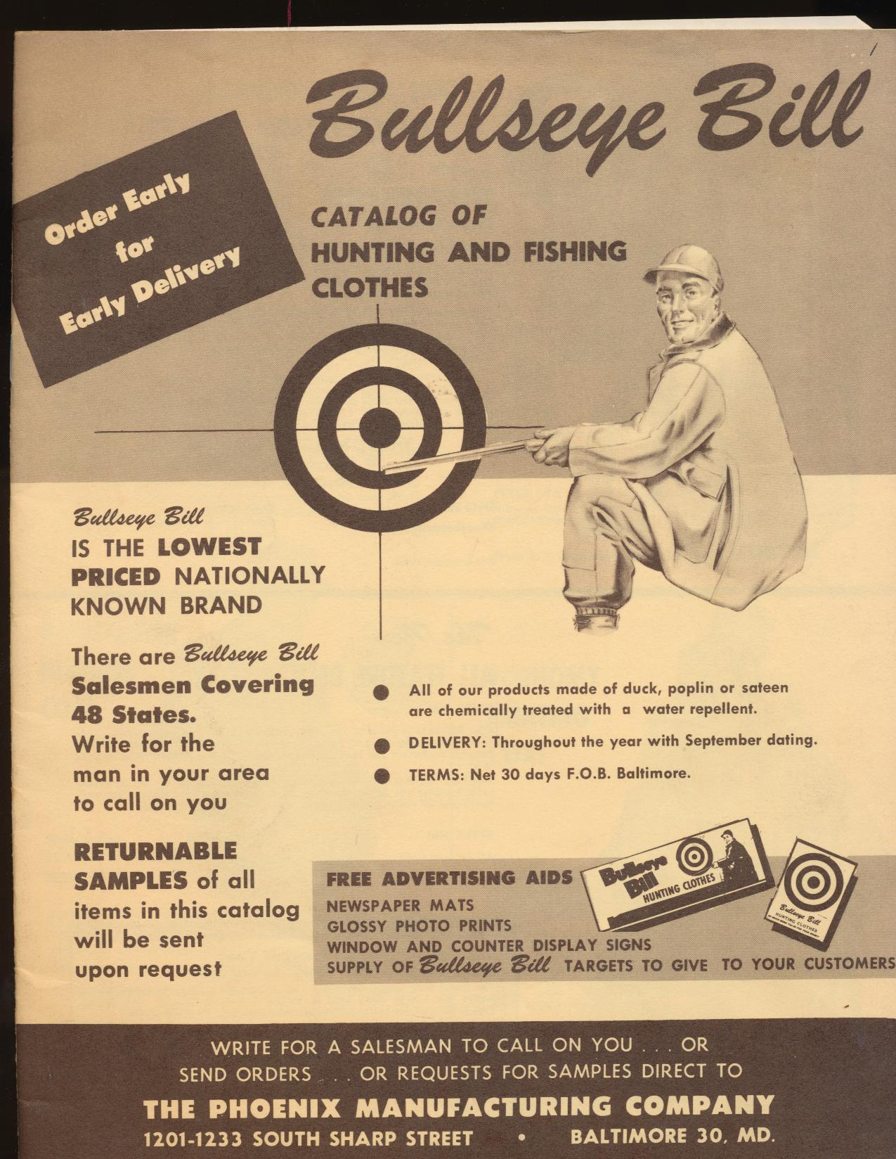 1964 Bullseye Bill Hunting/Fishing Clothes Dealer Trade Catalog
